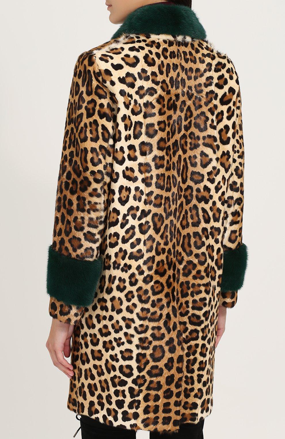 Шуба из меха норки и козлика с леопардовым принтом Simonetta Ravizza леопардовая   Фото №4