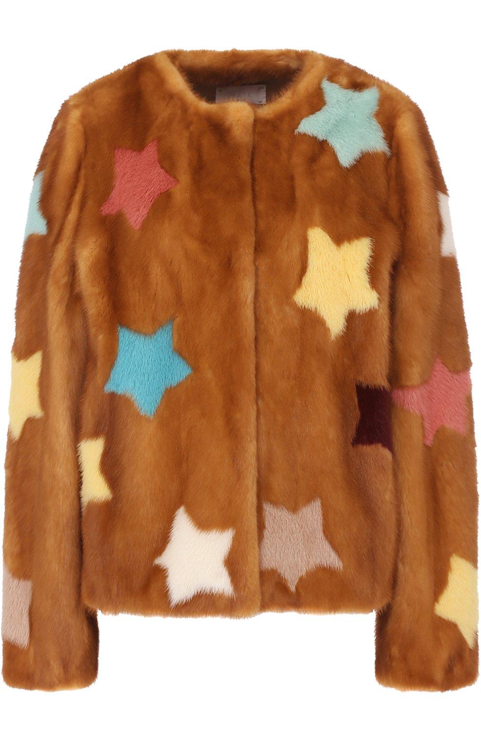 191a8ab5de6c Фото Женская коричневая укороченная шуба из меха норки с принтом в виде  звезд MATE OFFICIAL Италия