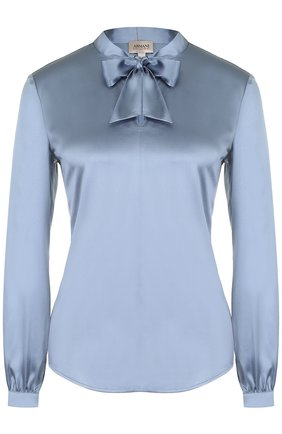 Шелковая приталенная блуза с воротником аскот | Фото №1