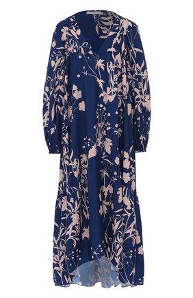 Платье свободного кроя с принтом и V-образным вырезом   Фото №1