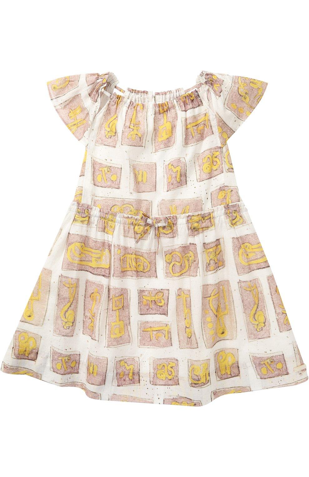 30e9ce12161 Детское хлопковое платье с принтом на кулиске Burberry разноцветного цвета