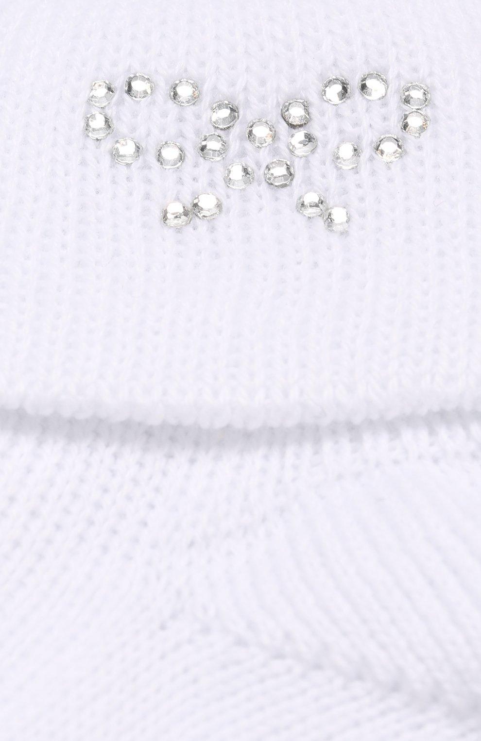 Детские хлопковые носки со стразами CATYA белого цвета, арт. 721539 | Фото 2