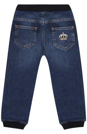 Джинсы с эластичными манжетами и нашивкой Dolce & Gabbana синего цвета | Фото №2