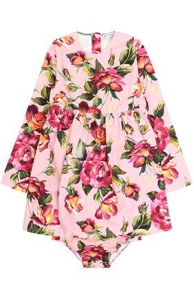 Комплект из платья и трусов с принтом Dolce & Gabbana розового цвета | Фото №1