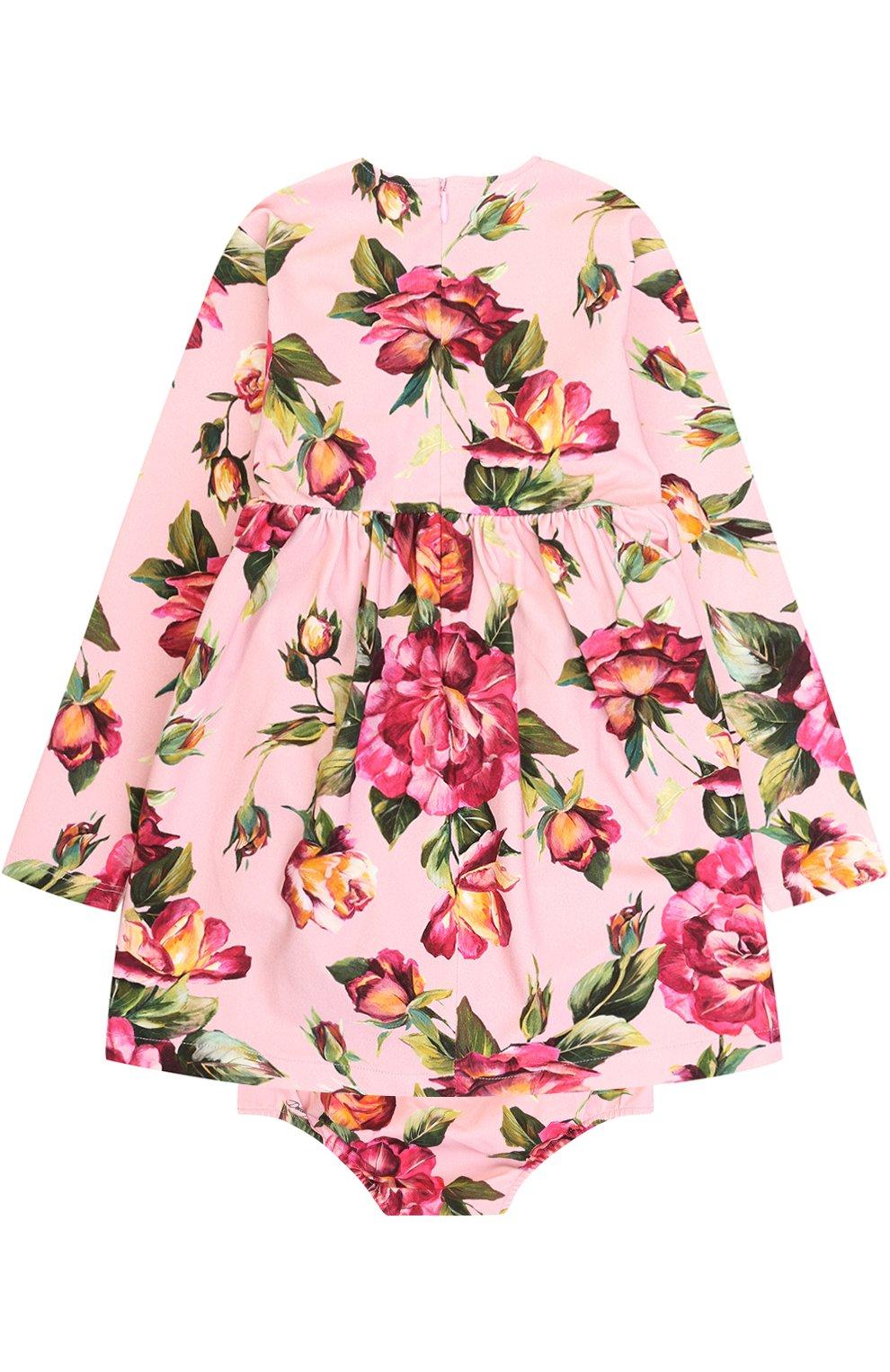 Комплект из платья и трусов с принтом Dolce & Gabbana розового цвета | Фото №2
