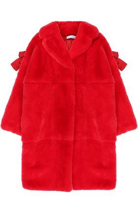 Шуба прямого кроя из кролика с бантами Dolce & Gabbana красного цвета | Фото №1