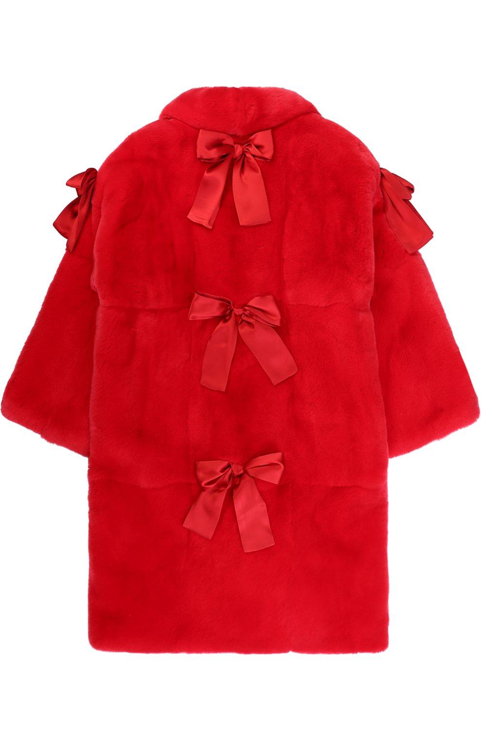 Шуба прямого кроя из кролика с бантами Dolce & Gabbana красного цвета | Фото №2