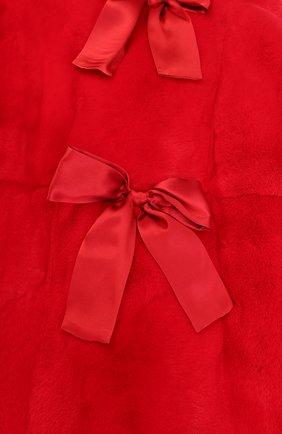 Шуба прямого кроя из кролика с бантами Dolce & Gabbana красного цвета | Фото №3