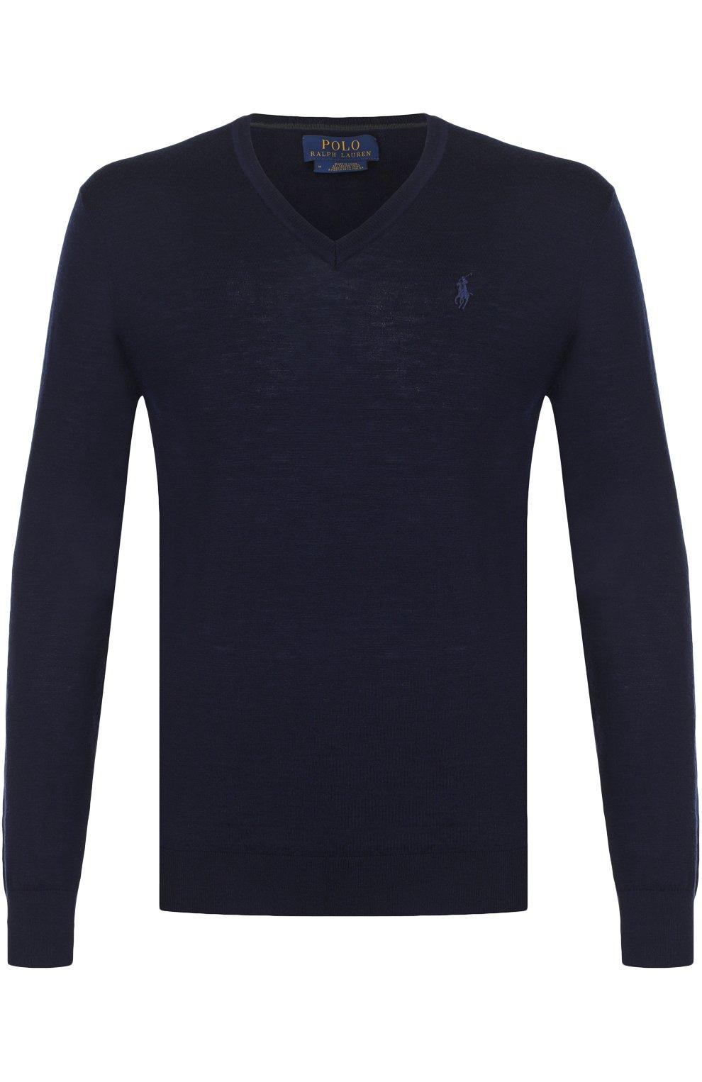 Шерстяной вязаный пуловер с логотипом бренда   Фото №1