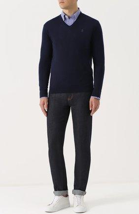 Шерстяной вязаный пуловер с логотипом бренда   Фото №2