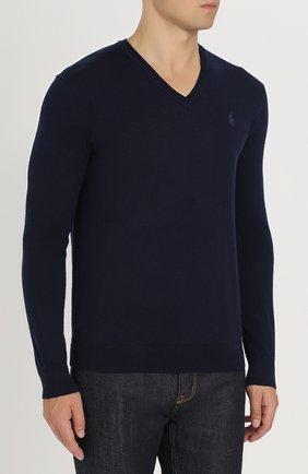 Шерстяной вязаный пуловер с логотипом бренда   Фото №3