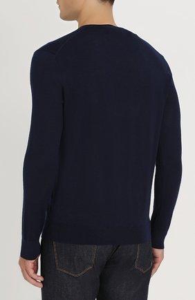 Шерстяной вязаный пуловер с логотипом бренда   Фото №4
