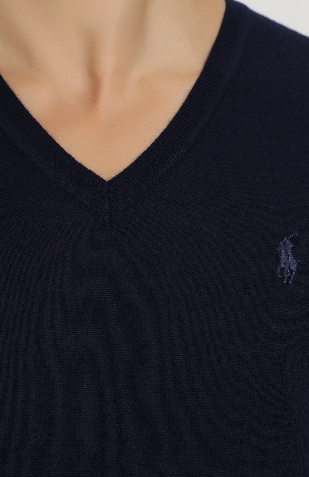 Шерстяной вязаный пуловер с логотипом бренда   Фото №5