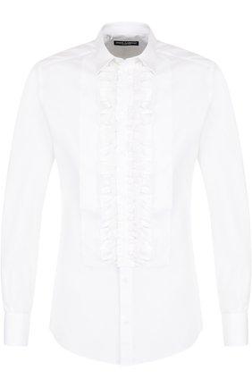 Сорочка из смеси хлопка и шелка с рюшами Dolce & Gabbana белая | Фото №1