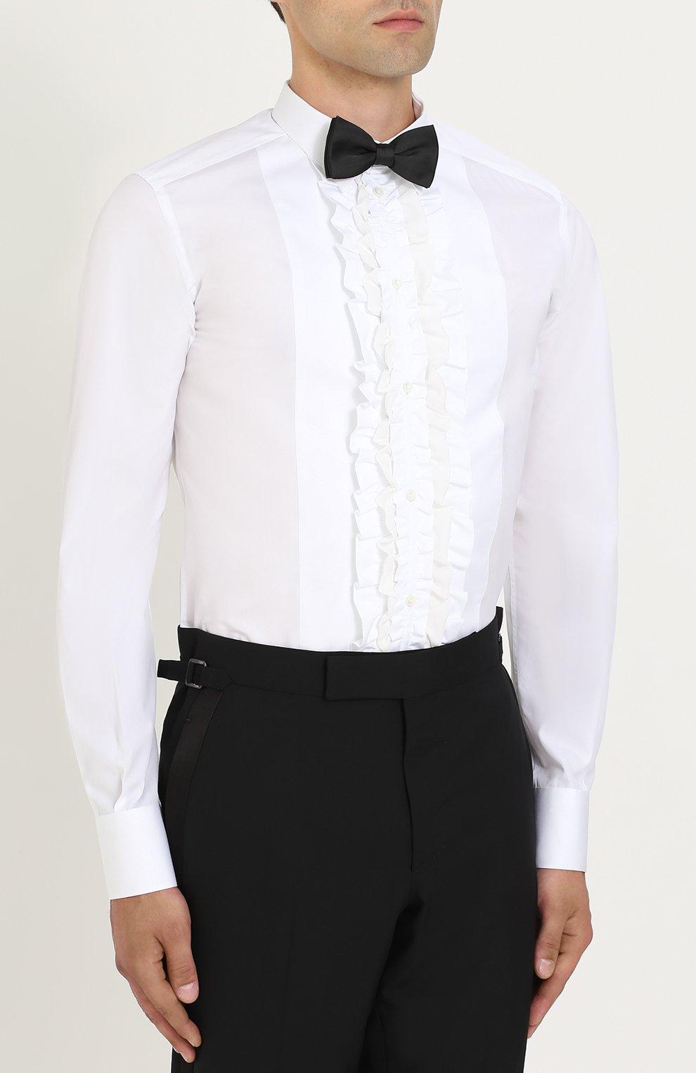Сорочка из смеси хлопка и шелка с рюшами Dolce & Gabbana белая | Фото №3