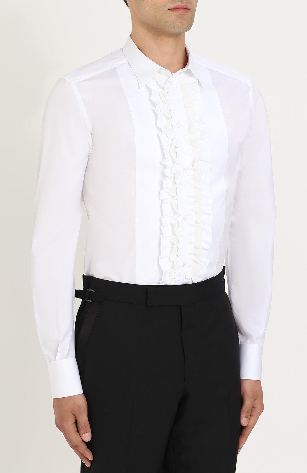 Сорочка из смеси хлопка и шелка с рюшами Dolce & Gabbana белая | Фото №4