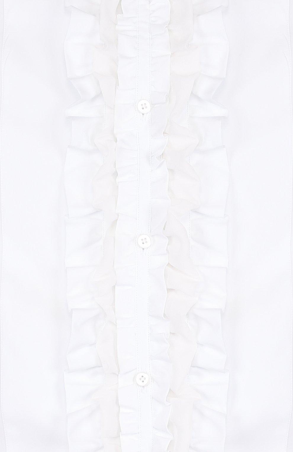 Сорочка из смеси хлопка и шелка с рюшами Dolce & Gabbana белая | Фото №5