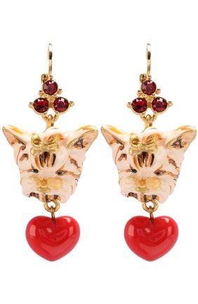 Серьги с подвесками и кристаллами Swarovski Dolce & Gabbana золотые | Фото №1