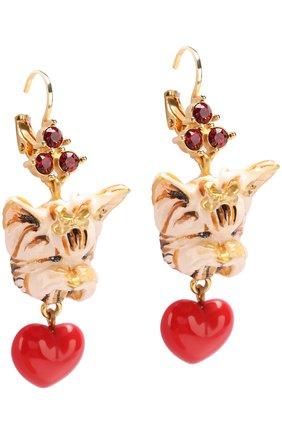 Серьги с подвесками и кристаллами Swarovski Dolce & Gabbana золотые | Фото №2