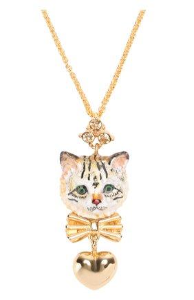 Подвеска с кулоном с кристаллами Swarovski Dolce & Gabbana золотое | Фото №2