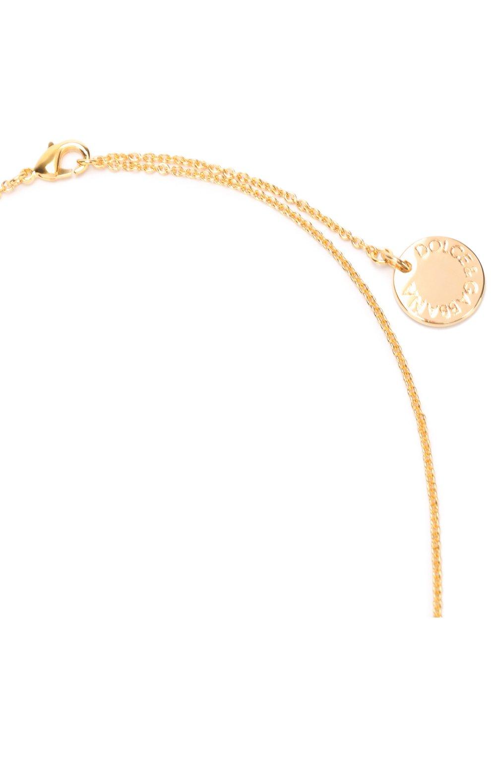 Подвеска с кулоном с кристаллами Swarovski Dolce & Gabbana золотое | Фото №3