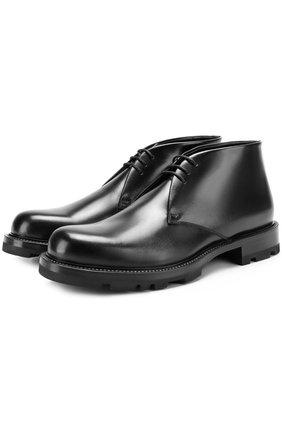 Кожаные ботинки с внутренней отделкой из овчины Jil Sander черные | Фото №1