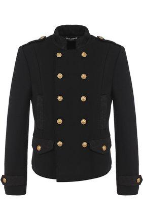 Шерстяной двубортный пиджак Dolce & Gabbana черный | Фото №1