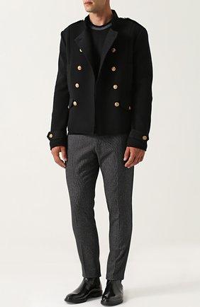 Шерстяной двубортный пиджак Dolce & Gabbana черный | Фото №2