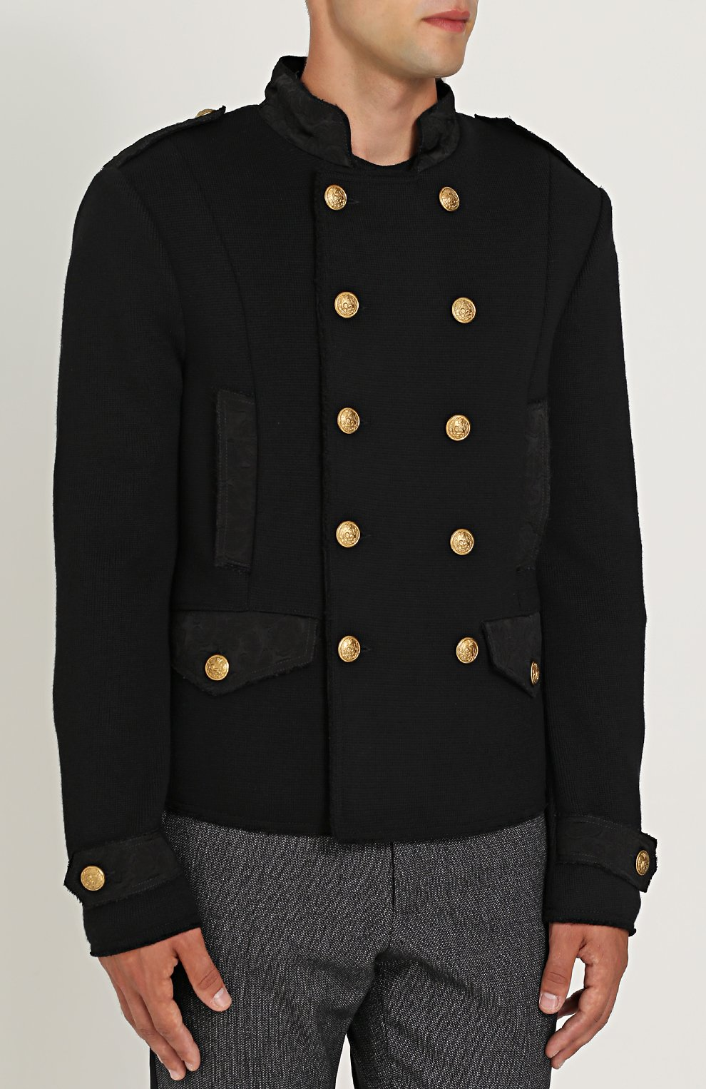 Шерстяной двубортный пиджак Dolce & Gabbana черный | Фото №3