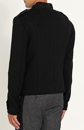 Шерстяной двубортный пиджак Dolce & Gabbana черный | Фото №4