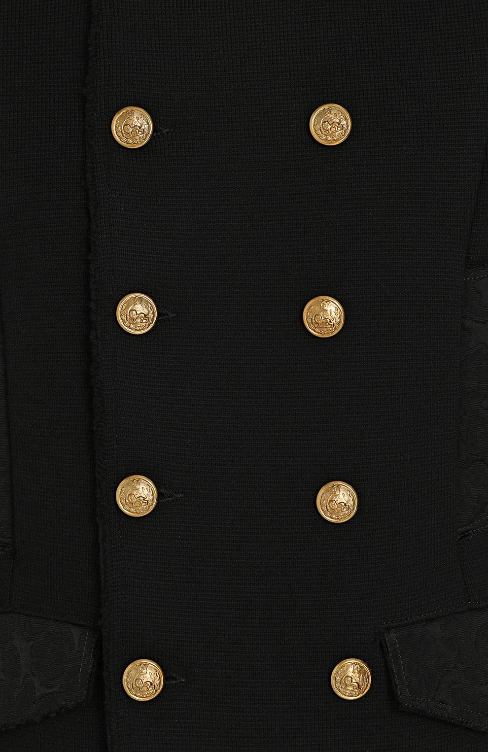 Шерстяной двубортный пиджак Dolce & Gabbana черный | Фото №5