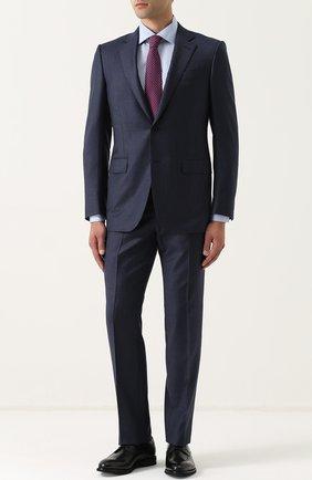 Кожаные дерби с прострочкой на шнуровке Zegna Couture черные | Фото №1