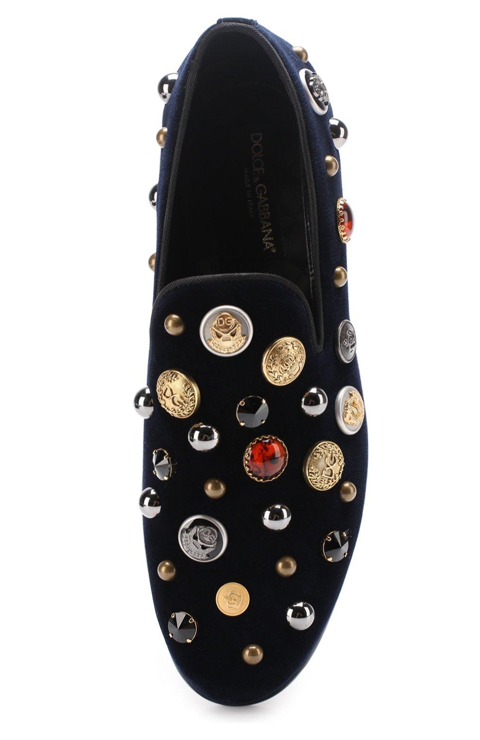 Бархатные слиперы Milano с декором Dolce & Gabbana темно-синие   Фото №5
