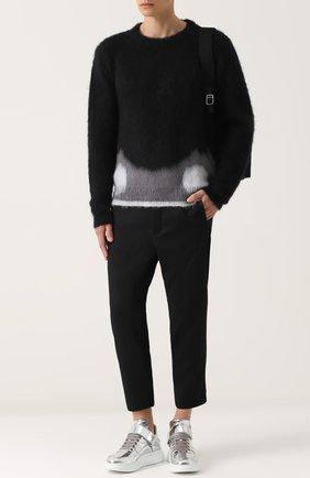 Укороченные шерстяные брюки прямого кроя Oamc черные | Фото №1