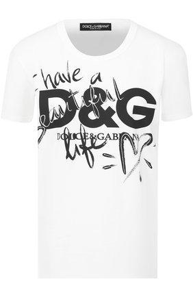 Хлопковая футболка прямого кроя с принтом Dolce & Gabbana белая | Фото №1