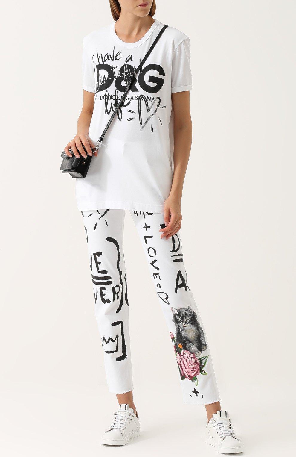 Хлопковая футболка прямого кроя с принтом Dolce & Gabbana белая | Фото №2