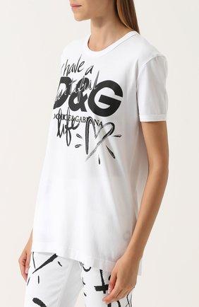 Хлопковая футболка прямого кроя с принтом Dolce & Gabbana белая | Фото №3