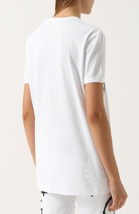 Хлопковая футболка прямого кроя с принтом Dolce & Gabbana белая | Фото №4