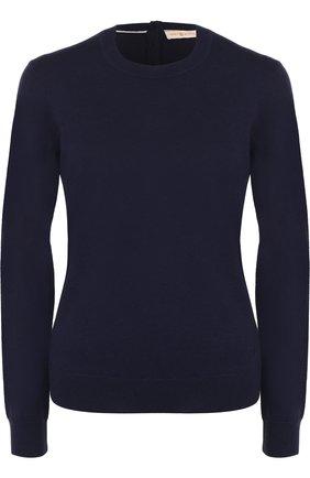Кашемировый пуловер прямого кроя Tory Burch синий | Фото №1
