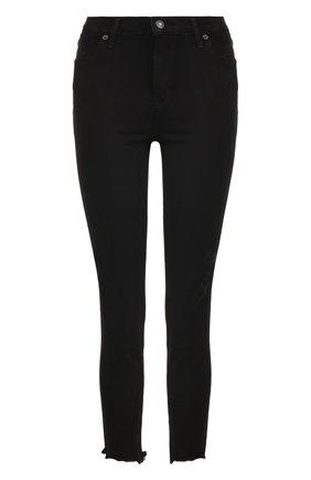 Однотонные укороченные джинсы-скинни Agolde черные | Фото №1