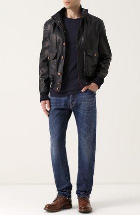 Кожаная куртка с накладными карманами Delan темно-коричневая | Фото №1