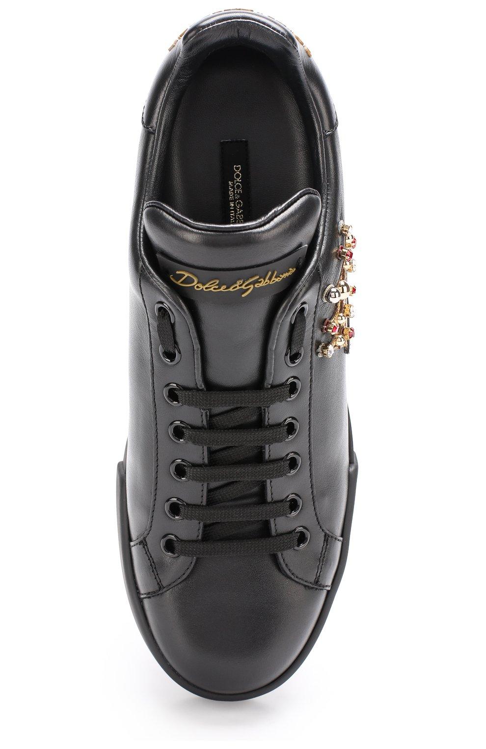 Кожаные кеды Portofino с аппликациями Dolce & Gabbana черные   Фото №5