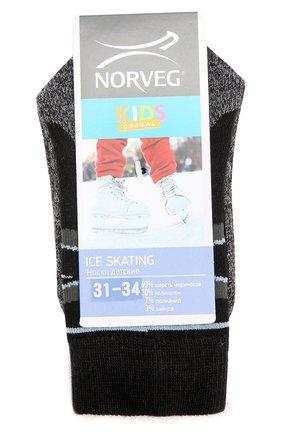 Детские термоноски с принтом ice skating NORVEG черного цвета, арт. 9ICSURU | Фото 1