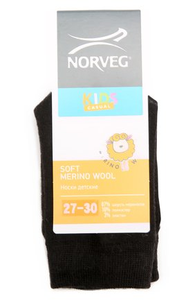 Детские термоноски soft merino wool NORVEG черного цвета, арт. 9SMURU | Фото 1
