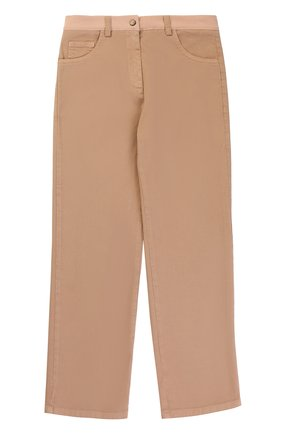 Хлопковые брюки прямого кроя с логотипом бренда   Фото №1
