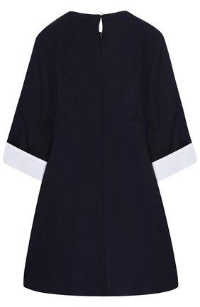Детское приталенное платье джерси с контрастной отделкой и брошью Dal Lago темно-синего цвета | Фото №1