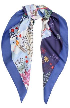 Шелковый платок с принтом Salvatore Ferragamo синий | Фото №1