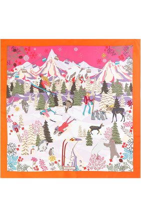 Шелковый платок с принтом Salvatore Ferragamo оранжевый | Фото №1