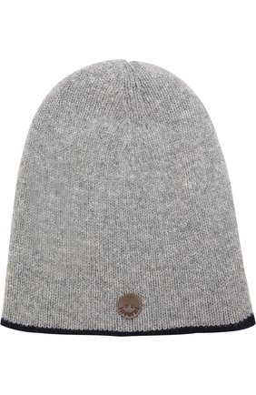 Вязаная шапка из смеси шерсти и кашемира Inverni серого цвета   Фото №1