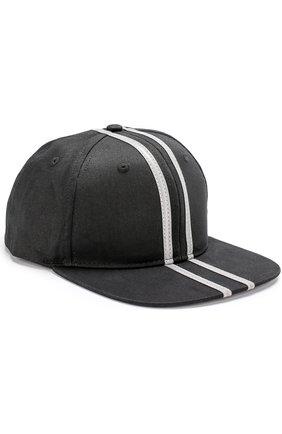 Хлопковая бейсболка в контрастную полоску BLACKBARRETT черного цвета | Фото №1